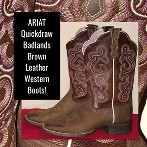 ARIAT Quickdraw Badlands Leather Western Boots!